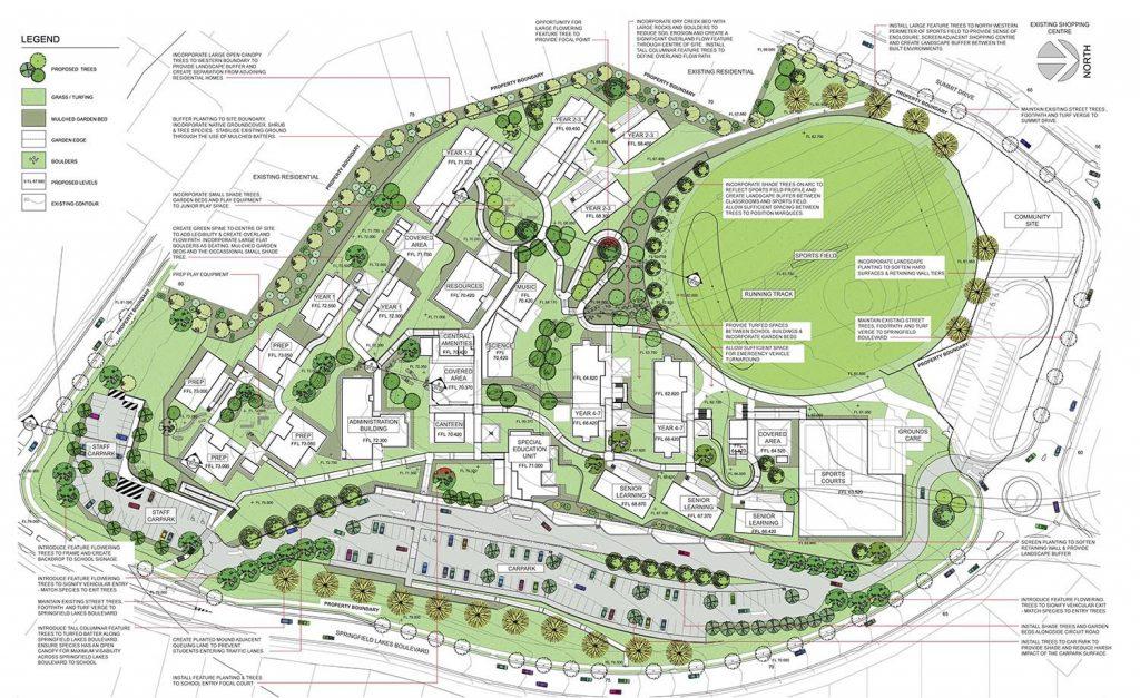 Rendered plan of a school masterplan