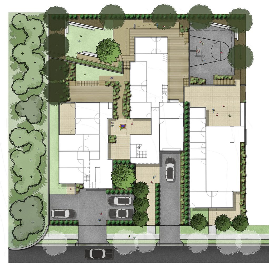 Colour rendered landscape concept plan of the Adolescent Drug and Alcohol Withdrawal Service