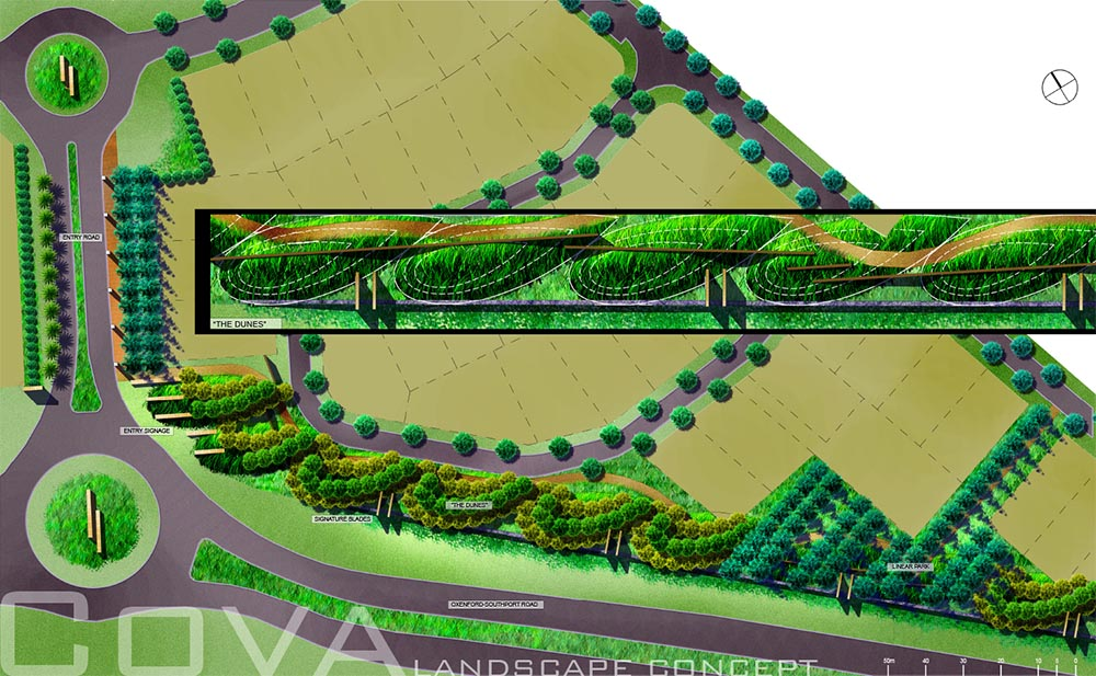 Rendered entry road landscape concept plan