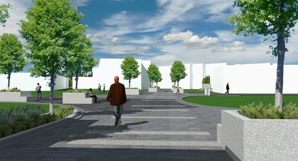 Landscape architectural render of Marist College pavement forecourt