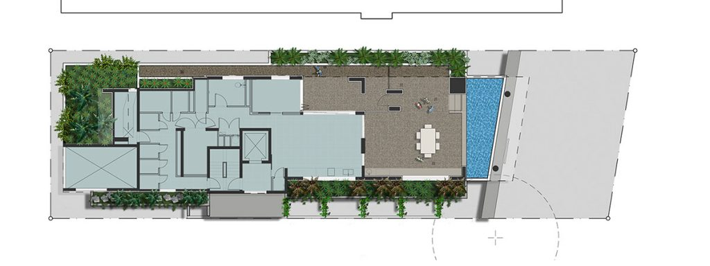 Colour rendered landscape concept plan of Oro Apartments First Floor