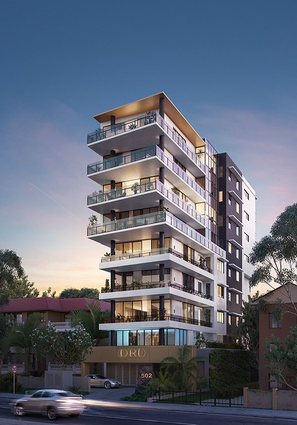 Architectural perspective render of Oro Apartments